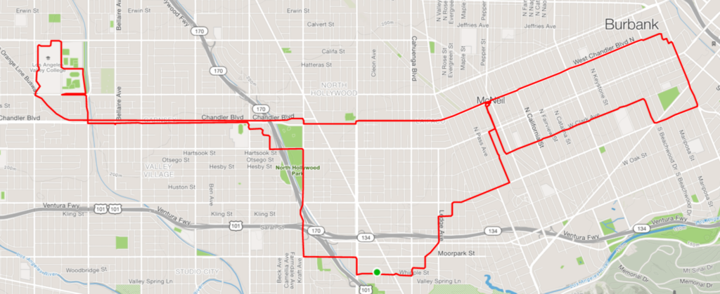 Map of today's bike ride.