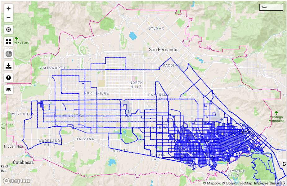 Look at that map of the San Fernando Valley! Look how the corner is all filled up!