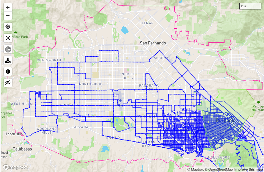 A map of my rides through the San Fernando Valley.